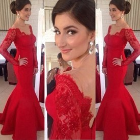 Red Lace Off The Shoulder Sheer Long Sleeve Satin Mermaid Prom Dress