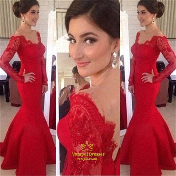 Sheer Lace Long Sleeve Satin Mermaid Wedding Dresses: Red Lace Off The Shoulder Sheer Long Sleeve Satin Mermaid