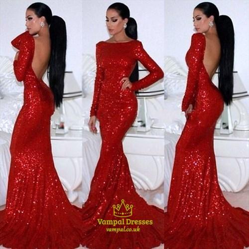 Red Long Sleeve Backless Floor Length Sheath Sequin Mermaid Prom Dress