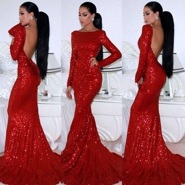 666bc8882a Red Long Sleeve Backless Floor Length Sheath Sequin Mermaid Prom Dress
