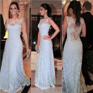 Light Blue Sheer Back Illusion Neckline Prom Dress With Lace Overlay