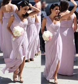 Lavender One Shoulder Sweetheart Pleated Chiffon Bridesmaid Dress