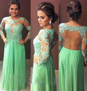 Green Applique Embellished Open Back Floor Length Chiffon Prom Dress