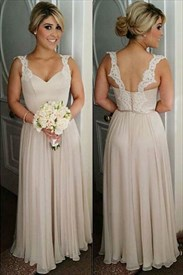 Champagne Sleeveless Chiffon Bridesmaid Dress With Lace Straps