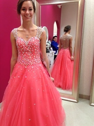Sleeveless Sheer Straps Beaded Applique A Line Tulle Prom Dress
