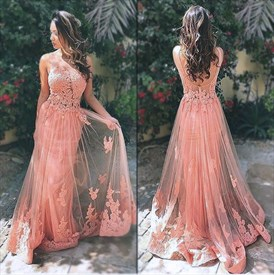 Pink Sleeveless Open Back Applique Bodice Lace Overlay Prom Dress