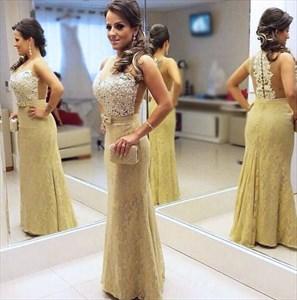 Sleeveless Beaded Sweetheart Applique Back Lace Mermaid Prom Dress