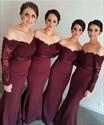 Burgundy Lace Off The Shoulder Sheer Sleeves Mermaid Bridesmaid Dress