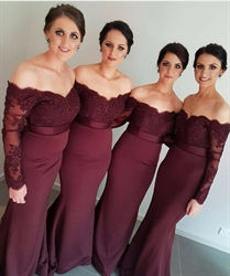 Burgundy Lace Off The Shoulder Sheer Sleeves Mermaid Bridesmaid Dress