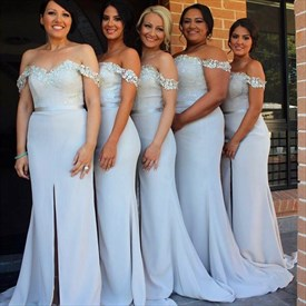 Light Blue Off The Shoulder Bridesmaid Dress With Slit In The Front