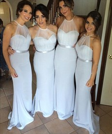 Light Blue Sheer Halter Sweetheart Open Back Bridesmaid Dress