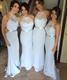 Light Blue Sheer Halter Sweetheart Open Back Bridesmaid Dress