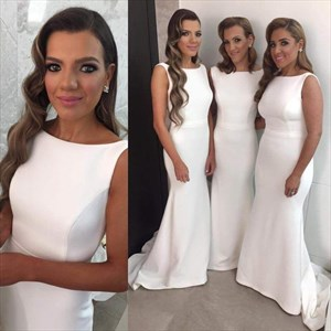 White Sleeveless Floor Length Satin Sweep Mermaid Bridesmaid Dress