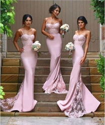 Pink Spaghetti Strap Sheath Mermaid Lace Embellished Bridesmaid Dress