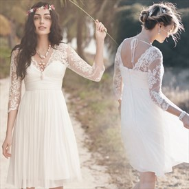 White Sheer Lace Long Sleeve V Neck Pleated Chiffon Cocktail Dress