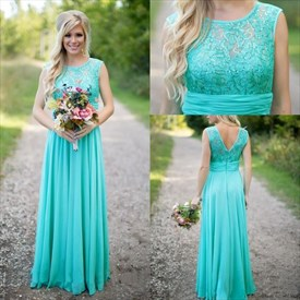 Blue Sleeveless Empire Waist Lace And Chiffon Bridesmaid Dress