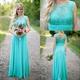 Blue Sleeveless Empire Waist Lace And Chiffon Bridesmaid Dress