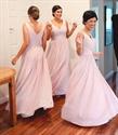 Pink Sleeveless Criss Cross Bodice V Neck Chiffon Bridesmaid Dress