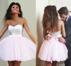 Strapless Sequin Bodice Pink Tulle Homecoming Dress With Bow On Back