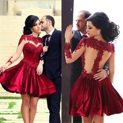Burgundy Illusion Applique Bodice Open Back Satin Short Prom Dress