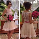 Champagne Illusion Lace Applique Sheer Back Tulle Skirt Bridesmaid Dress