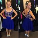 Royal Blue Sleeveless Illusion Neckline Applique Chiffon Short Dress