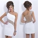 White One Shoulder Illusion Beaded Applique Mini Bodycon Prom Dress