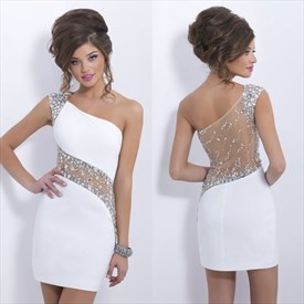 White One Shoulder Illusion Beaded Applique Mini Bodycon Prom Dress
