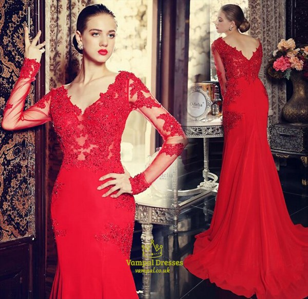 Red Illusion Beaded Applique Bodice Long Sleeve Mermaid Long Prom Dress