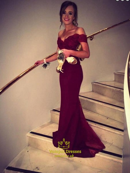 Burgundy Off The Shoulder Sweetheart Neckline Mermaid Prom Dress