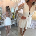White Sheer Sleeve Plunge V Neck Open Back Lace Homecoming Dress