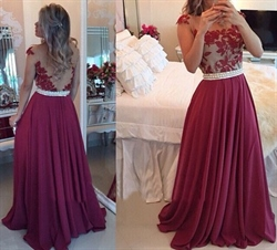 Floor Length Sleeveless Applique Bodice Open Back Chiffon Prom Dress