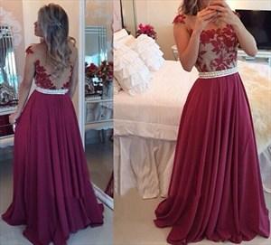 Floor Length Sleeveless Applique Bodice Open Back Chiffon Prom Dress