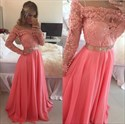 Coral Off The Shoulder Sheer Sleeves Beaded Applique Chiffon Prom Dress