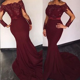 Burgundy Beaded Applique Off The Shoulder Long Sleeve Mermaid Prom Dress
