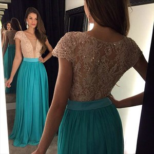 Plunge V Neck Lace Bodice Cap Sleeve Floor Length Chiffon Prom Dress