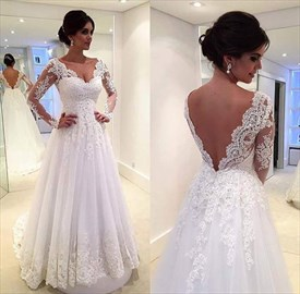 White Sheer Lace Sleeve Sweetheart Neckline A Line Open Back Prom Dress