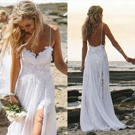 White Spaghetti Strap Lace Sweetheart Chiffon Prom Dress With Slit