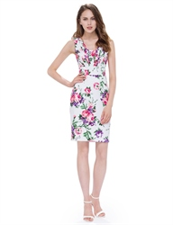 White Sleeveless V Neck Floral Printed Bodycon Casual Dress