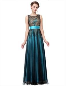 Sleeveless Illusion Neckline Printed Bodice Tulle Overlay Prom Dress