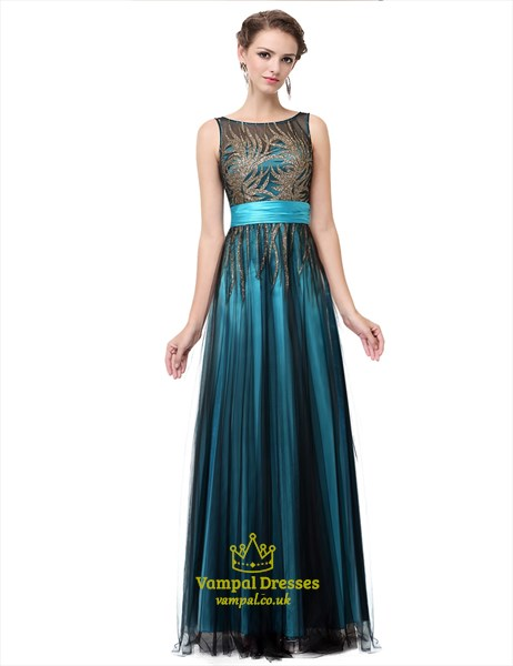 Sleeveless Illusion Neckline Printed Bodice Tulle Overlay Prom Dress