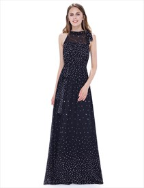 Black Halter Illusion Neckline Floor Length A Line Chiffon Maxi Dress