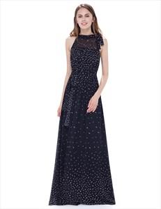 Black Halter Illusion Neckline Floor Length A Line Chiffon Maxi Dress
