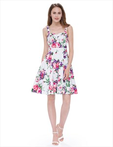 Sleeveless Knee Length Square Neck A Line Floral Printed Casual Dress