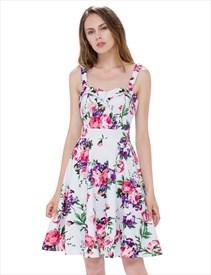 fb2e77e37404 Sleeveless Knee Length Square Neck A Line Floral Printed Casual Dress
