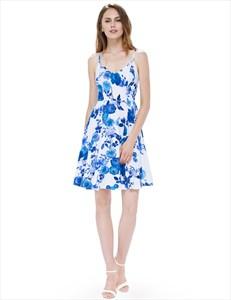Spaghetti Strap V Neck A Line Knee Length Floral Printed Skater Dress