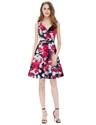 Sleeveless Knee Length V Neck A Line Floral Printed Casual Dress