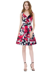 Sleeveless Knee Length V Neck A Line Floral Printed Casual Dress