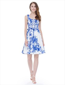 Blue Knee Length Sleeveless A Line Floral Printed Skater Dress