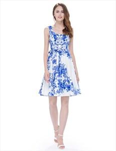 Blue Knee Length Sleeveless A Line Floral Printed Skater Dress